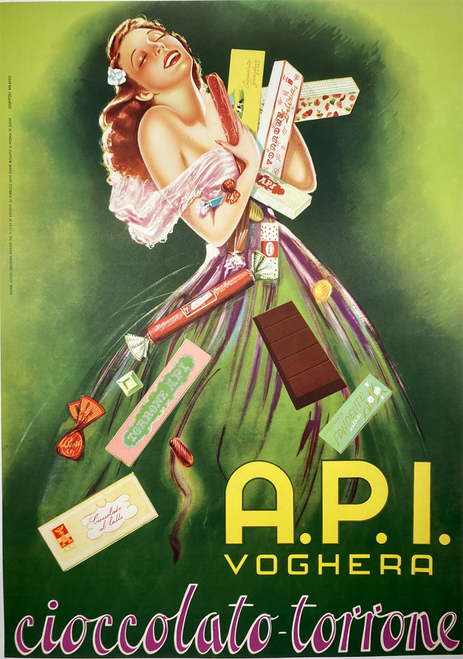 API Voghera Cioccolatto-Torrone original offset lithograph on linen for Italian chocolate features a lady in long dress holding chocolate bars
