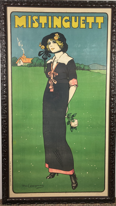 Mistinguett original stone lithograph on linen & framed. Rare famous french actress w/midnight blue dress instead of red or green dresses in other printing. 1911