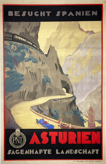 Original stone lithograph Austurien German language poster advertising travel to Spain by Palacios Vaquero on linen A- condition