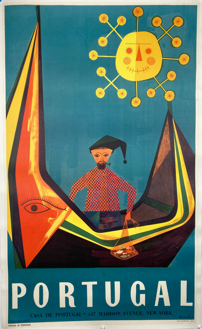 Original lithograph A- condition on linen by Sebastio Rodrigues whimsical fisherman in a boat advertising travel to Portugal. Mid 20th century