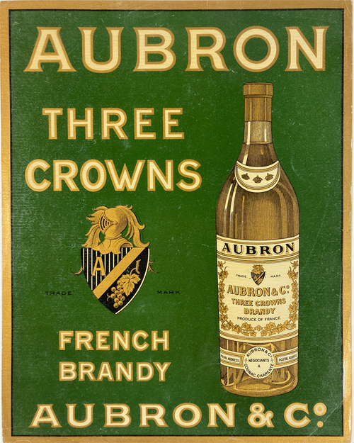 Original lithograph on coated paper advertising Aubron Three Crowns French Brandy early20th century for sale.