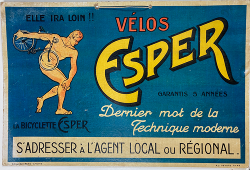Original cartone advertising Esper cycles from France for sale
