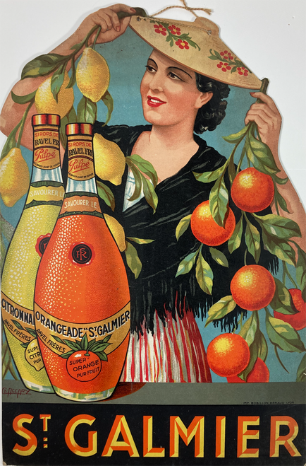 Original advertising cartone for St. Galmier beverages featuring a woman wearing a hat holding oranges & lemons