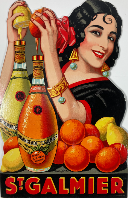 Original advertising cartone with Spanish woman squeezing orange & lemon