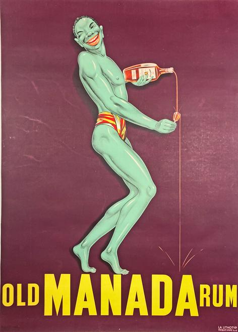 Original stone lithograph advertising Old Manada Rum