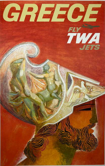 Original lithograph by David Klein 1959 Fly TWA jets Greece on linen