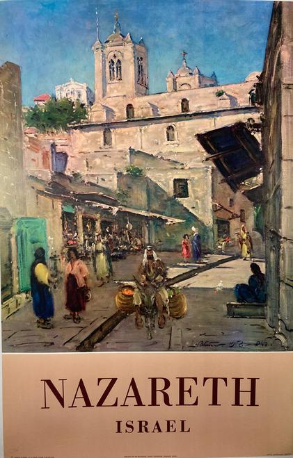 Original lithograph on linen 1958 Israeli Government Tourist Corporation travel to Nazareth