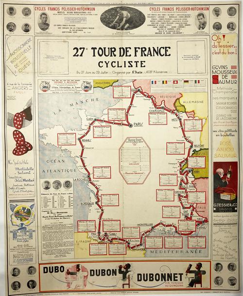 Original fold out map on linen of 27th Tour de France race 1933 featuring Cassandre's Dubonnet triptych on the bottom