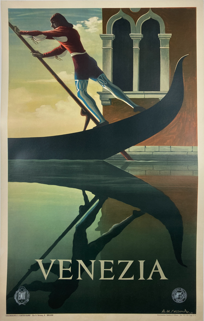 Iconic Original lithograph on linen by AM Cassandre 1951 featuring gondolier and a canal in Venice