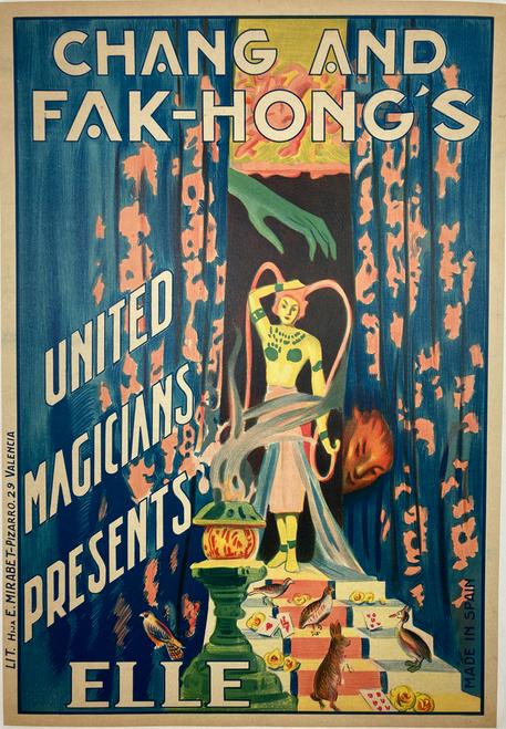 Original stone lithograph Chang & Hak Fong's Elie magician 1930s
