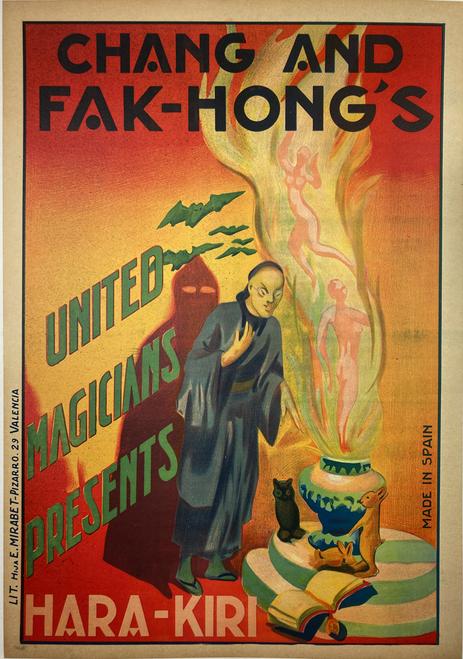 Original stone lithograph Chang & Hak Fong's Hara-Kiri magician 1930s