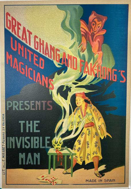 Original stone lithograph advertising Chang & Hak Fong's Invisible Man magician 1930s
