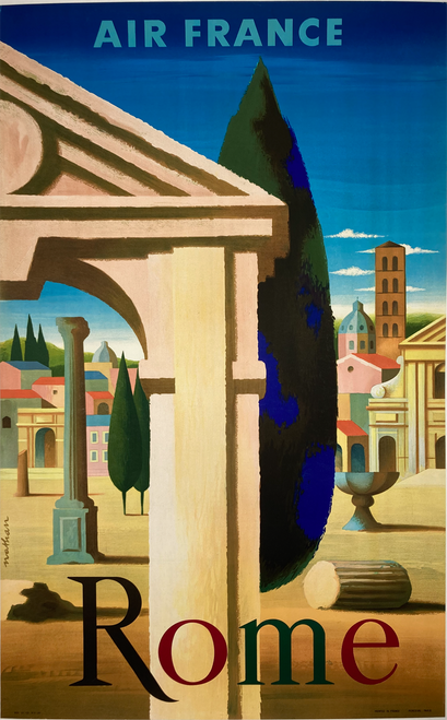 Original lithograph on linen advertising travel to Rome on Air France 1957 Jacques-Nathan Garamond