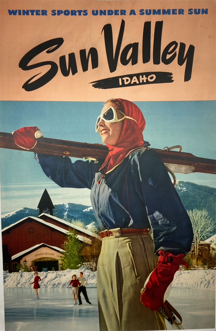Original lithograph iconic image advertising Winter Sports in Sun Valley Idaho ca.1940