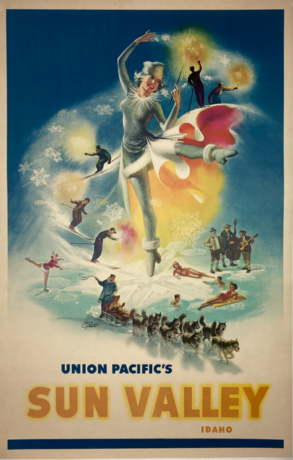 Original lithograph on linen by C.Peete advertising travel to Sun Valley on Union Pacific railroad