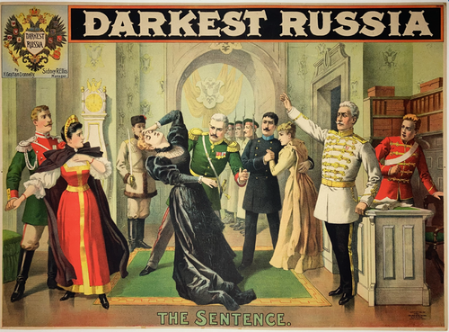 Original 1894 stone lithograph on linen advertising the Play Darkest Russia and the The Sentence scene