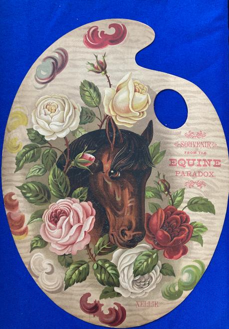 Original antique chromolithograph cardboard souvenir from horse exhibitions 1880s