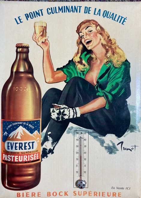 Original cardboard cartone with thermometer advertising Everest Biere Bock Superieure 1960s