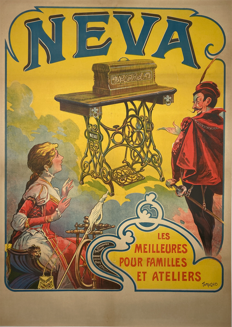 Original stone lithograph featuring Mephisto Neva sewing machines by Tamagno