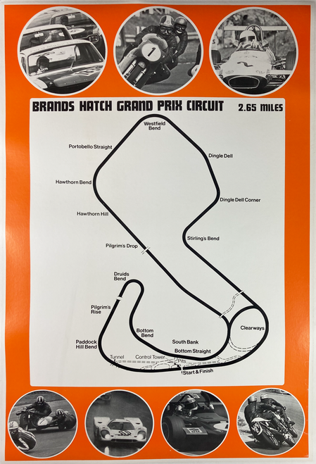 Original lithograph on linen advertising Brands Hatch racing course for motorcycles and cars