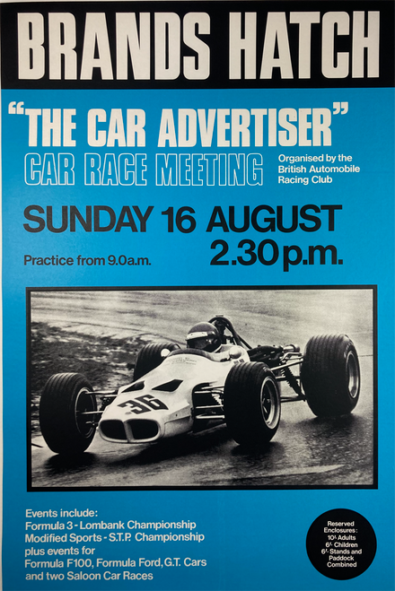 Original lithograph advertising Car Race Meeting by the British Automobile Racing Club