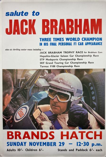 Original lithograph Jack Brabham's final F1 Race at Brands Hatch 1970