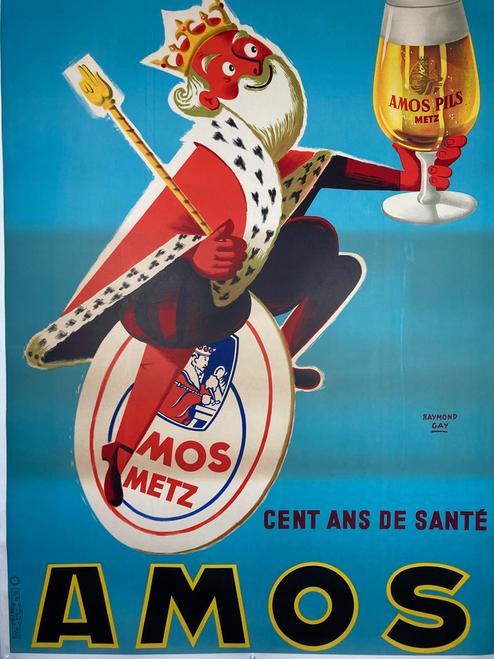 Original lithograph advertising Amos Pils Metz