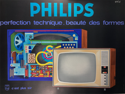 Original Philips lithograph advertising television sets by Eric 1960