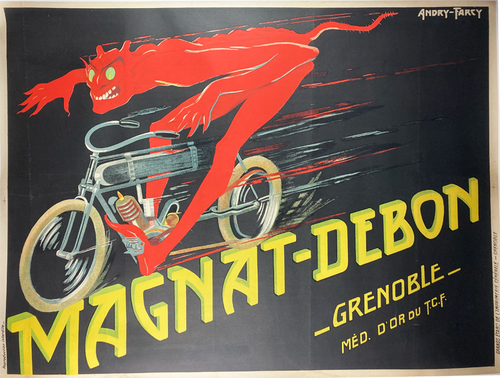 Original by Andry-Farcy advertising Magnat-Debron motorbikes with red devil