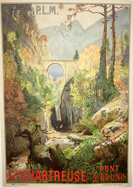 Original stone lithograph linen for French railway Le Grande Chartreuse Pont St. Bruno