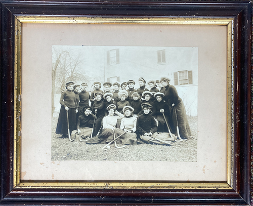 Original antique photograph women's field hockey team in original frame