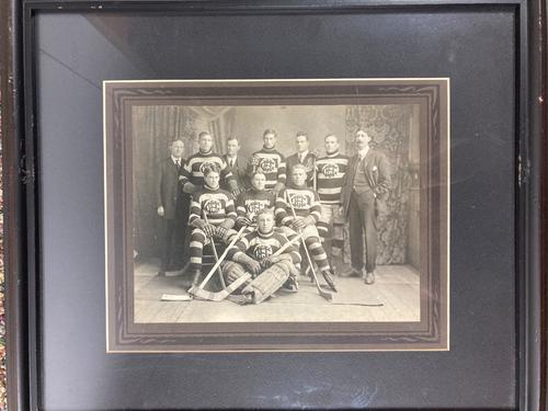Ice Hockey Team in Striped Uniforms