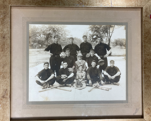 antique silver nitrate photograph of American baseball team framed
