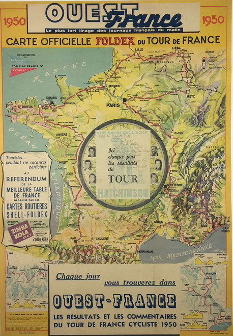 Tour de France fold out Map from Ouest-France