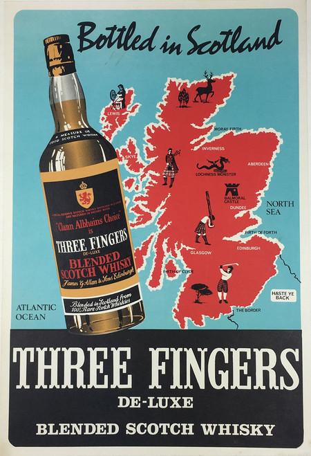 Three Fingers Whiskey rare image Irish whiskey on linen