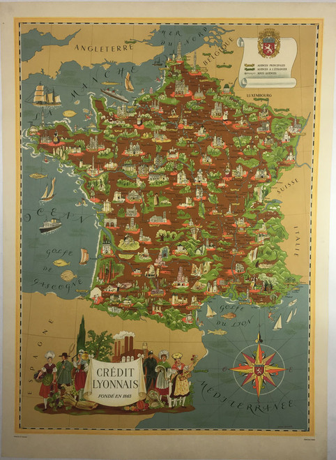 Illustrated Map of France Crédit Lionnais