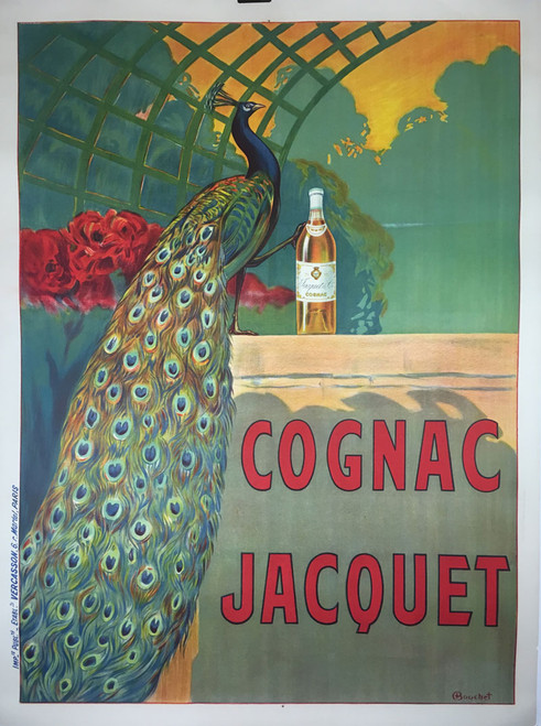 Cognac Jacquet original stone lithograph on linen featuring a glorious and vibrant peacock