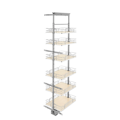 Rev-A-Shelf 5373-16-MP 16 in Chrome Solid Bottom Pantry Pullout Soft Close