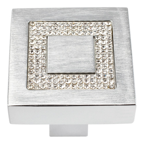 3192-MC Inset Czech Crystal Square Knob Matte Chrome