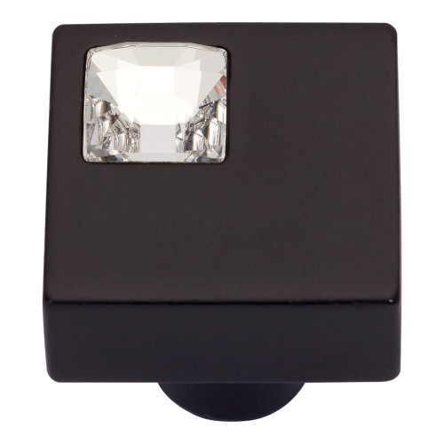 3194-BL Off Center Swarovski Crystal Sq Knob Matte Black