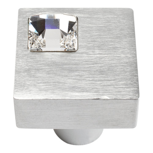 3194-MC Off Center Swarovski Crystal Sq Knob Matte Chrome