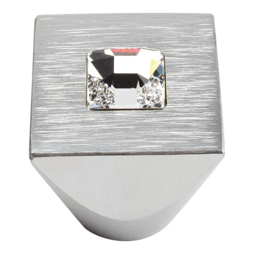 3195-MC Centered Swarovski Crystal Sq Knob Matte Chrome