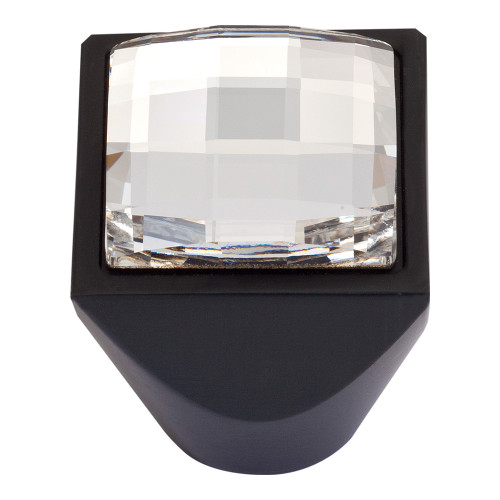 3196-BL Large Swarovski Crystal Sq Knob Matte Black