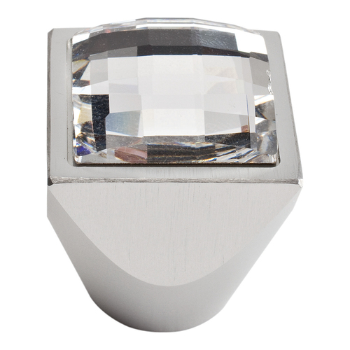 3196-MC Large Swarovski Crystal Sq Knob Matte Chrome