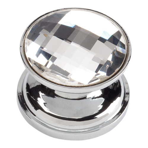 3197-CH Large Swarovski Crystal Round Knob Polished Chrome