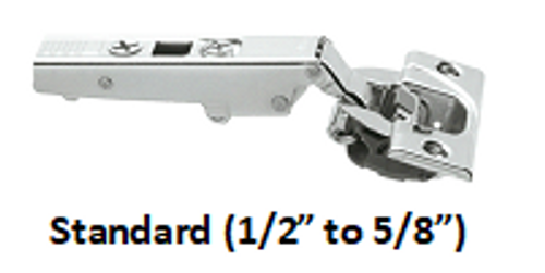 """Standard Blum Straight Arm Hinge for 1/2"""" to 5/8"""" overlay.  Comes in four different mounting styles:  Screw, Dowel, Expando, or  Inserta"""