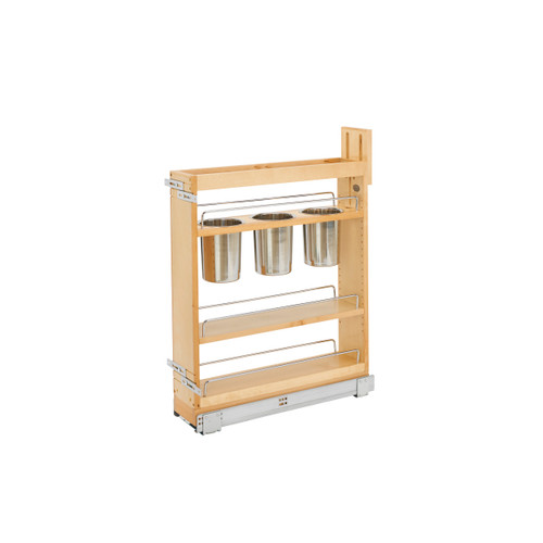 """5"""" Base Organizer with 3 Bins for Utensils and Shelves"""