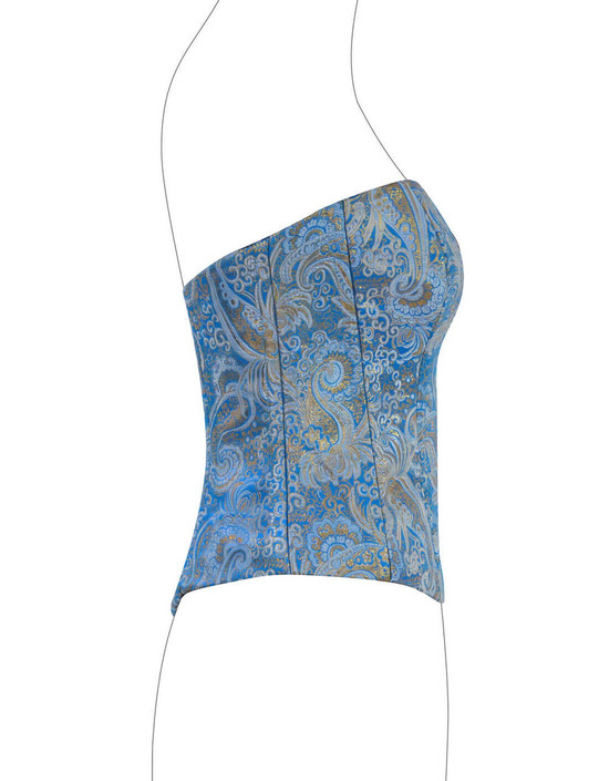 Corsetto in rasatello damascato blu e oro