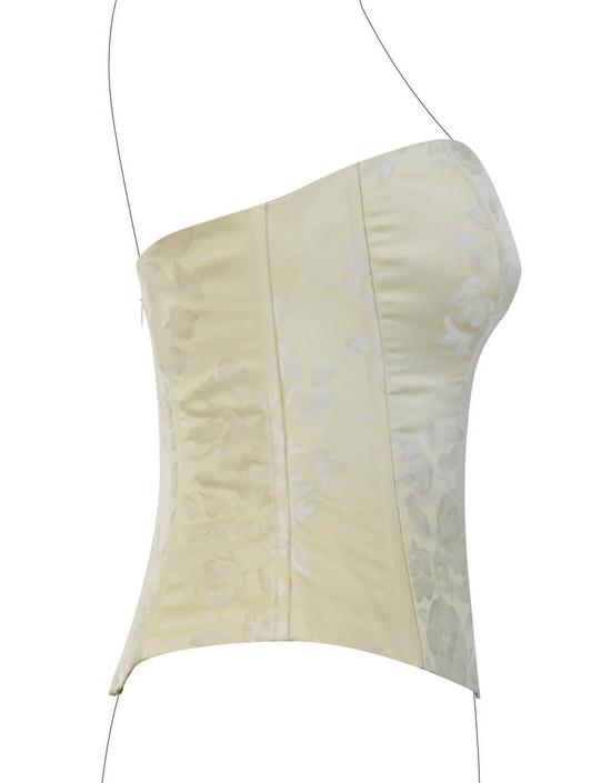 Corsetto in pura seta stampata con effetti floreali con riflessi lievemente cangianti.