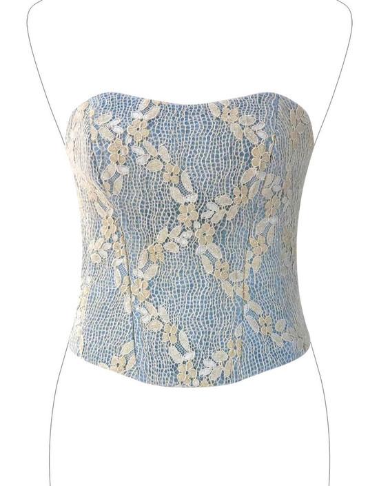 Corsetto da Sera / Cerimonia in Jeans doppiato in rete floreale